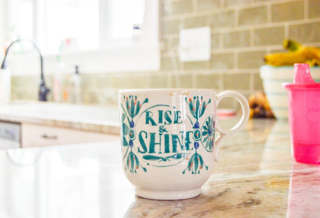 Coffee mug left on the counter